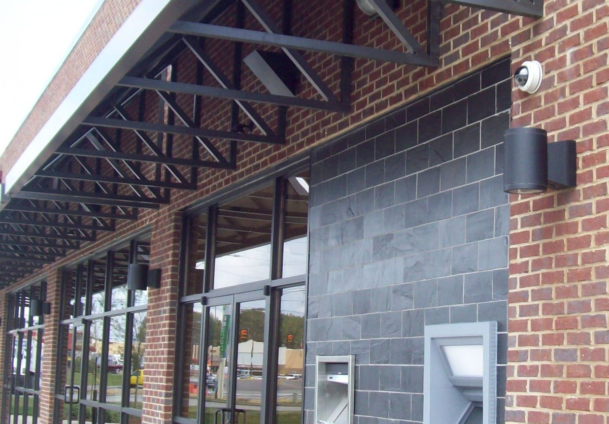 A row of aluminum awnings made specifically for the Central State Bank in Calera, Alabama.