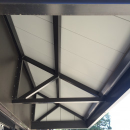 The underside of a Tennessee Valley Metals custom aluminum awning at Jeff's Muffler Shop in Oneonta, Alabama.