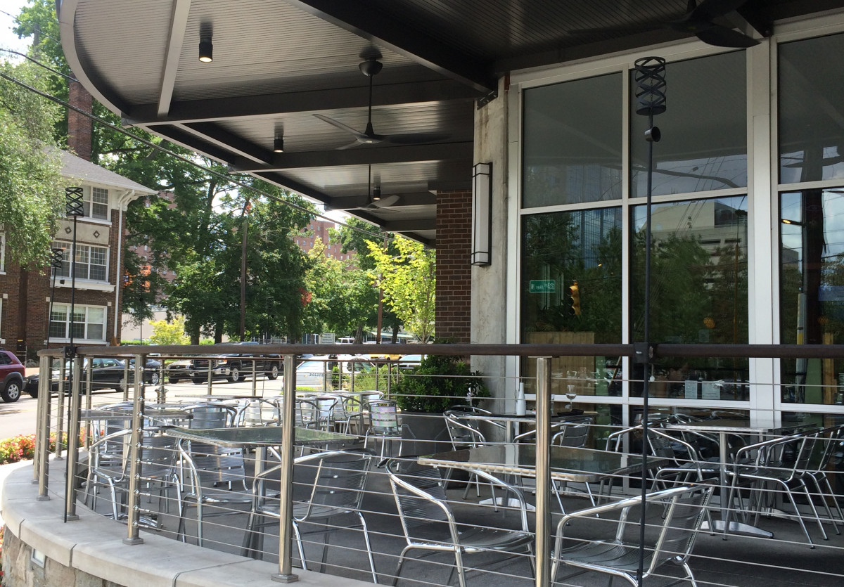 An aluminum canopy system made by Tennessee Valley Metals for Elliston Place in Nashville Tennessee & Custom-designed Overhead Supported Aluminum Canopies
