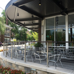 An aluminum canopy system made by Tennessee Valley Metals for Elliston Place in Nashville, Tennessee.