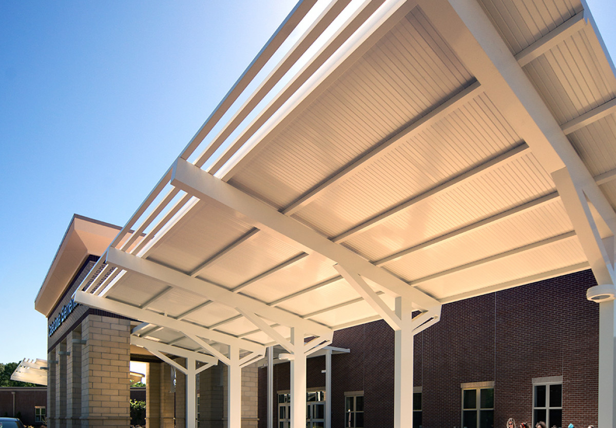 Custom made aluminum walkway covers by Tennessee Valley Metals.