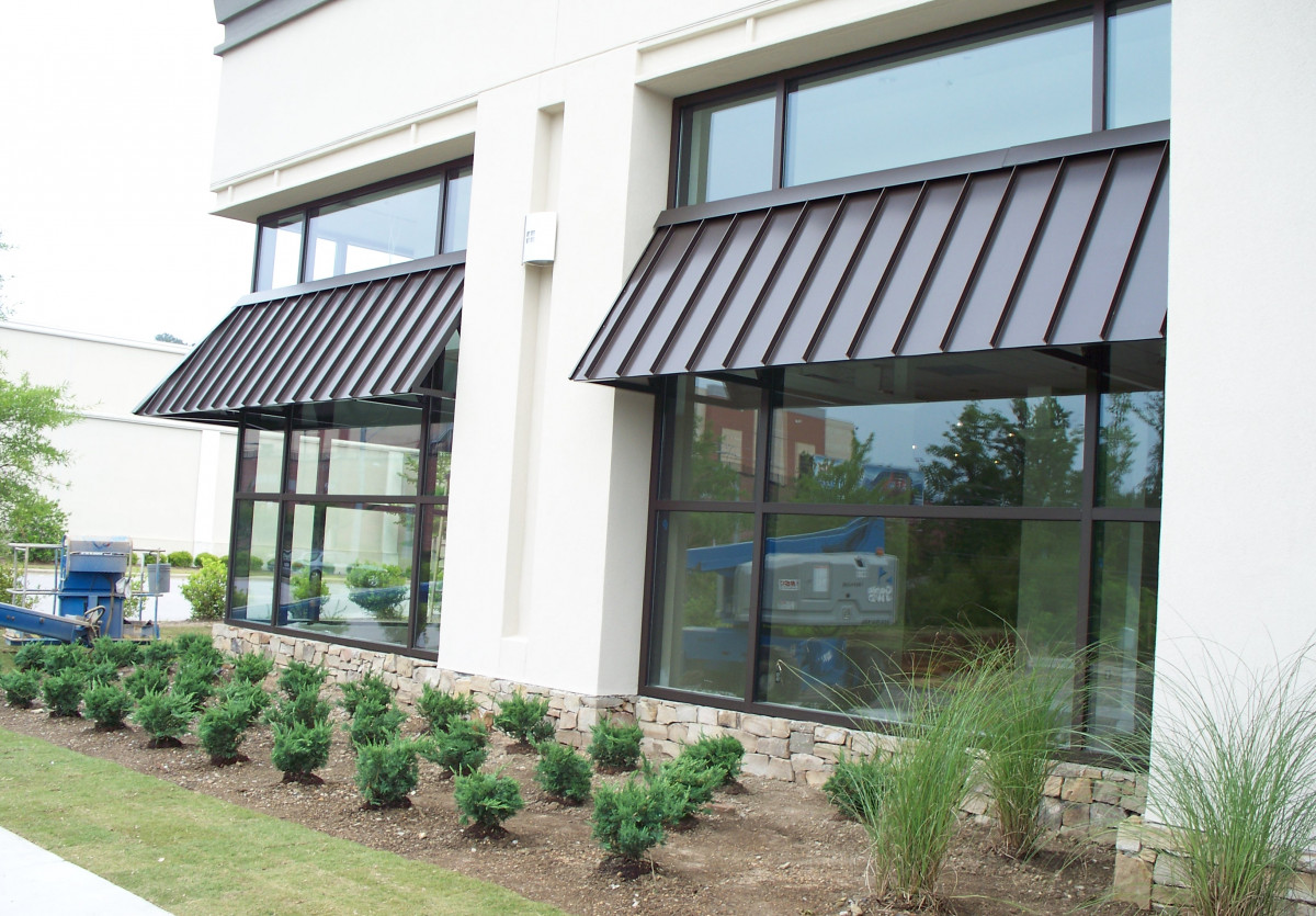Custom-made Aluminum awnings made for Ethan Allen in Hoover, Alabama.