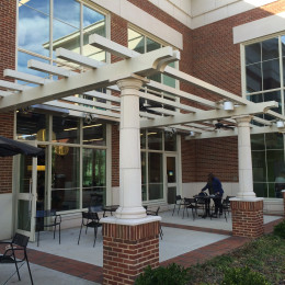 White, aluminum sunshades made for University of Alabama Fresh Foods Trellis.