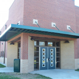 Custom made aluminum canopies made for Georgetown Middle School in Georgetown, Kentucky.
