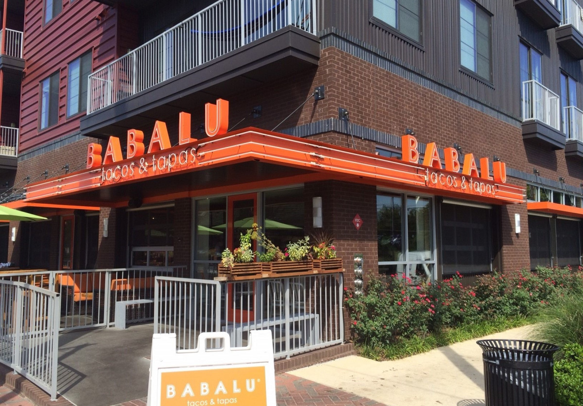 A custom-made, color matching aluminum canopy for the Babalu Restaurant in Birmingham, Alabama.