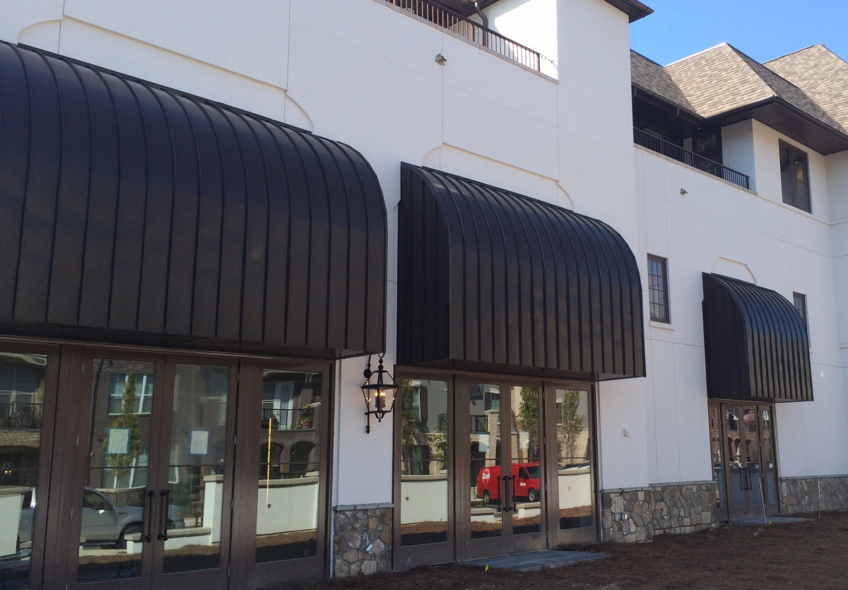 Aluminum awnings made by Tennessee Valley Metals for the Grand Bohemian Hotel in Birmingham, Alabama.