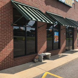 Custom Aluminum awnings made by Tennessee Valley Metals for the Subway in Lineville, Alabama.