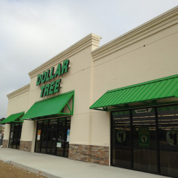 An aluminum awning made for a Dollar Tree in Birmingham, Alabama by Tennessee Valley Metals.