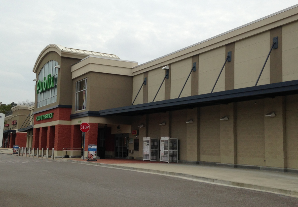 A custom made aluminum canopy system made for the Publix in Chelsea, Alabama.