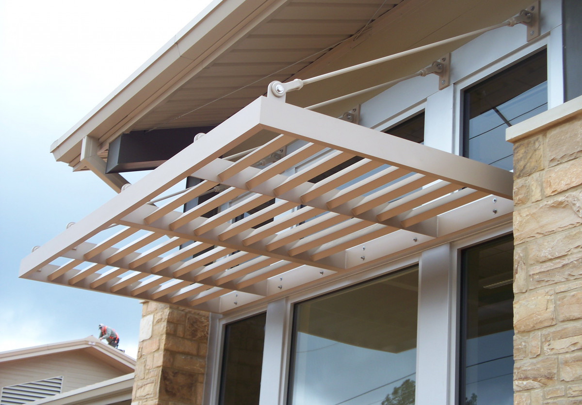 An example of custom made aluminum sunshades made by Tennessee Valley Metals.