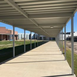 Post Supported Extruded Aluminum Walkway Covers From Tvm