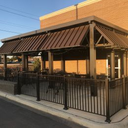 Aluminum Awnings made by Tennessee Valley Metals for Pyro's Pizza in Auburn, Alabama.